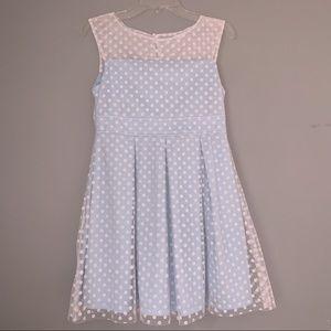 Girl's baby blue polka dot dress
